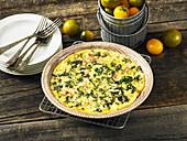 Omelett mit Grünkohl und Schinken