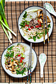 Pho with mung bean germlings, spring onions, chilli, mushrooms and beef (Vietnam)