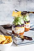 Taco salads in jars with chilli con carne (Mexico)