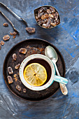 Black tea with lemon and rock sugar