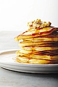 Buttermilk pancakes with whipped honeycomb butter