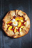 Peach and almond crostata