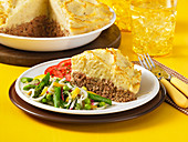Meatloaf pie with a mashed potato topping
