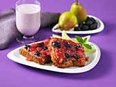 Upside down french toast with pears and blackberries