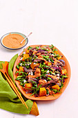 Lamb and pumpkin salad with capsicum dressing
