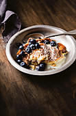 Blueberry and white chocolate bread and butter pudding