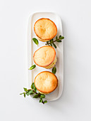 Ricotta flans with fresh peppermint