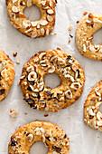 Hazelnut rings on baking paper
