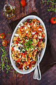 Basmati rice with peppers, grilled zucchini, feta, cherry tomatoes, spring onion and aromatic herbs