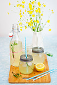 Fresh and thirst quencher lemonade with thyme