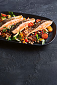 Salmon with zucchini and bean agrodolce