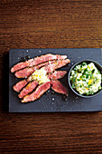 Beef bavette with hot butter and colcannon mash