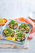 Roast Ricotta-Stuffed Mushrooms with Spinach Pesto