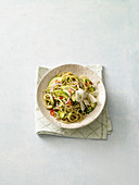 Avocado pasta with lemon and mint sauce