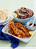 Indian turkey skewers with coleslaw