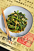 Water spinach with golden garlic and oyster sauce (Singapore)