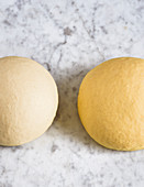 Two types of noodle dough – with and without egg
