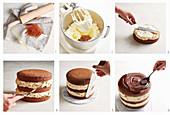 How to make caramel cake with chocolate sauce