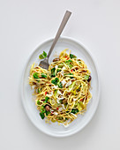 Tagliolini with chicory, olives and anchovies