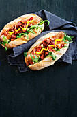 Hot dogs with spicy chorizo and apple relish