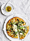 Asparagus and ricotta pizza blanche