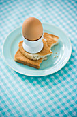 An egg in a eggcup on a slice of toast