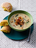 Mushroom soup with trumpet chanterelles