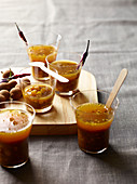 Tamarind soup shots with yellow peas