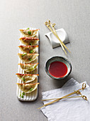 Gyoza dumplings stuffed with adzuki beans