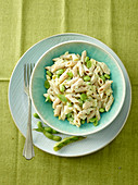 Whole Wheat Penne Pasta with Apple, Curry and Edamame