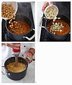 Kürbiscremesuppe mit Kichererbsen und Birnen zubereiten