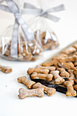 Anchovy and squash dog biscuits, shaped as bones