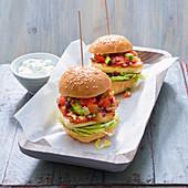 Grilled halloumi burgers with farmer's salad