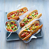Grilled Mexican hot dogs with special relish