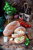 Home baked ciabatta bread