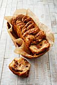 Cinnamon and raisin pull-apart bread