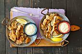 Gebratene Austernpilze mit Zitronenmayonnaise
