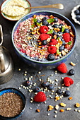 Berry millet with soya milk