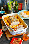 Pork loin baked with pineapple