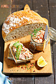 Home-made bread with salmon pate