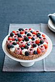 Modern Tart with Puffed Rice Chocolate and Wild Berries