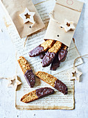 Almond biscotti dipped in salted chocolate (Italy)