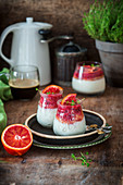 Panna cotta with blood oranges