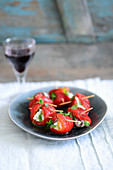 Grilled peppers with goat's cheese