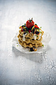 Herb waffles with grilled vegetables (vegan)