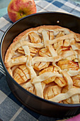 Apple cake in the baking tin