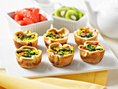 Pastry bowls with bacon and eggs for brunch