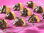 Coconut macaroons with a chocolate glaze