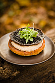 Portobello mushrooms with bean dip