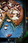 Espresso and cinnamon cake with nuts and honey